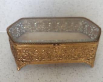Brass and Glass  Jewelry Casket