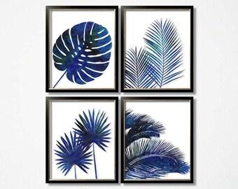 Indigo Foliage Prints, Blue Palm Wall Art Set of 6, Tropical Decor, Blue  Botanical, Wall Art, Blue White Wall Decor, Blue White Leaves