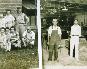 Vintage photograph photo US factory workers 1950's group employees building industrial