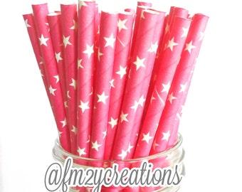 Pink Paper Straws   HOT PINK Star Paper Straws   Rock Star Birthday   Unicorn Birthday Party   Twinkle Twinkle Little Star Birthday party