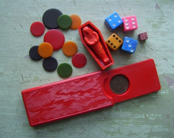 Vintage Game Pieces - Magic Tricks/Counters/Tiddly Winks/Dice - Early Plastic/Bakelite.