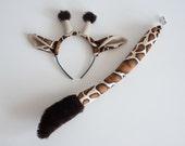 Giraffe Ears Headband and Giraffe Tail Set, Soft Animal Tail, Dress Up, Giraffe Costume
