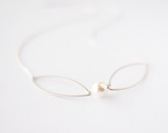 Silver white pearl necklace, bridal jewelry, bridesmaids gift
