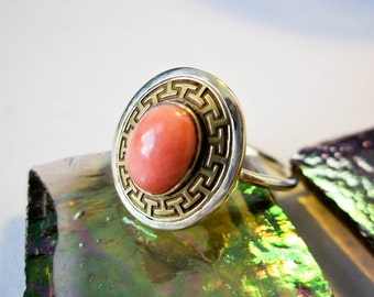 Solitaire Coral Ring Victorian 1890s 14K, Greek Key Bezel, Restored New Band, French.
