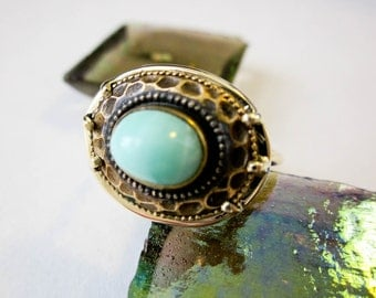 Turquoise Victorian Ring 14K Antique 1890s Etruscan Design, Restored, UK.
