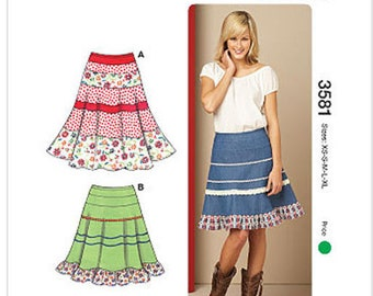 Kwik Sew 3581 Misses' Tiered Skirts Sewing Pattern, New Uncut Size XS-XL, Out of Print
