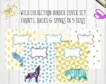 "Printable Binder Covers | Printable Binder Inserts | ""WILD WATERCOLOR"" 