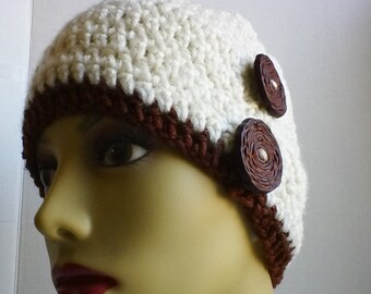 Wood Button Beanie-Beige Beanie-Button Beanie