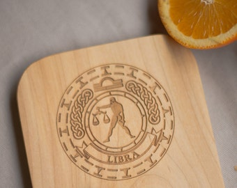 Libra Zodiac/ Wood Cheeseboard/ Custom Engraving/ Star Sign/ Personalized Gift/ Recycled Wood