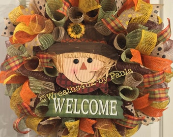 Fall Wreath/ Scarecrow Wreath/ Welcome Fall Wreath/ Thanksgiving Wreath / Fall Mesh Wreath/ Fall Door Decor