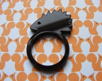 Hedgehog Laser-Cut Ring - Brown or Ivory