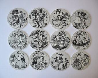 Bjørn Wiinblad - SET of 12 month plaque / plate - whole year - for Nymølle Denmark - mid century