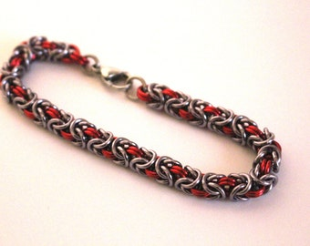 Byzantine Chainmaille Bracelet   Hand Crafted Chainmaille Jewelry   Handmade Bracelet   Red and Gun Metal   Anodized Aluminum