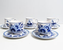 Ceramic 5 Cups and 5 Saucers Delft Cobalt blue handpainted, coffee service tea service, demi tasse cup, windmill flowers, Dutch Holland