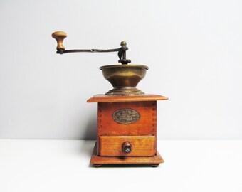 Vintage wood coffee mill, Belgium Emelghem, wood metal, coffee grinder with removable drawer, height 9.8 in / 25 cm