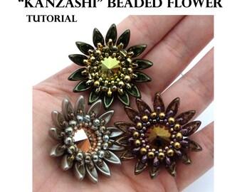 Kanzashi Beaded Flower - PDF beading pattern - Instant Download