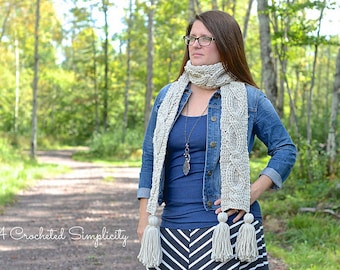 "Crochet Pattern: ""Twisting Trellis"" Cabled Scarf **Permission to Sell Finished Items INSTANT DOWNLOAD"