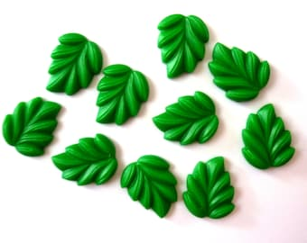 10 x SMALL Green Leaves Resin Flatback Cabochons Decoden Kitsch Kawaii