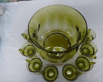 Midcentury Handblown Optic Avocado Green Punch Bowl Set w/ 8 Cups
