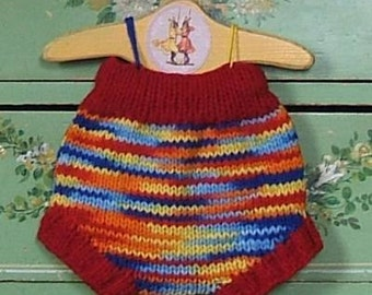 Rainbow Wool Soaker Cloth Diaper Cover Hand Knit Woolen Night Nappy Cover by Llamajama