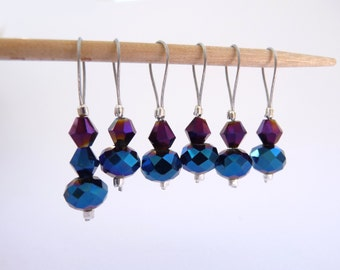 Sock Stitch Markers - No Snag Set of 6 Iridescent Blue