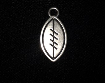 10 Pieces Football Charms, Double suded football charm, silver football, 24x12mm antique silver finish 32-18-AS
