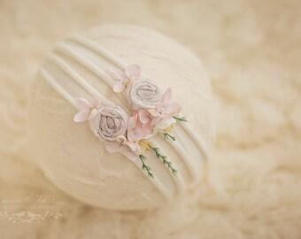 Whimsical Blossom Newborn Headband, Ivory Headband, Photo Prop, Peach Newborn Prop, Ivory Headband, Peach Headband, White Headband