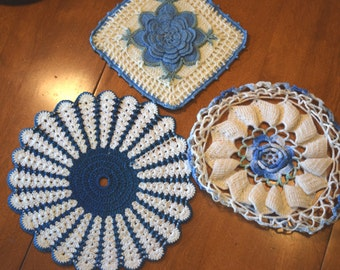 3 Pretty Shabby Cottage Chic Vintage Blue and White Doilies/Trivets for Your Kitchen - Crocheted and in Beautiful Condition Bright & Vivid