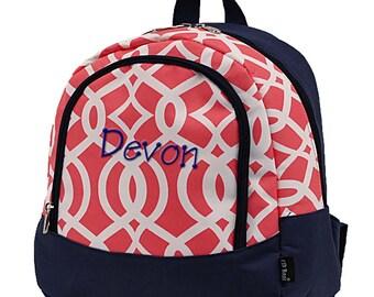 Toddler Backpack,Monogram Backpack,Toddler Backpacks,Child Backpack,Kindegarten Backpack,Preschool Backpack,School Bag,Coral Vine Navy Trim