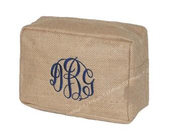 Mens Toiletry Bag | Monogrammed Cosmetic Bag | Personalized Make Up Bag | Burlap Bridesmaids Gift | Makeup Organizer Natural Burlap