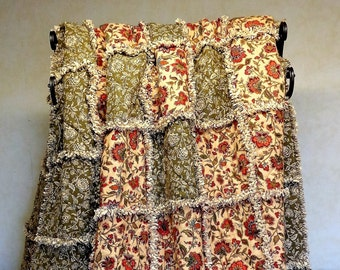 "Rag Quilt, Twin Size Rag Quilt, Twin Size Quilt, Twin Size Bedspread, Flannel Quilt, ""Garden Reverie"""