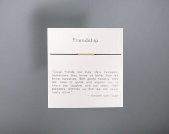 Friendship - Gold Friendship Bracelet on Silk - Black