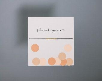 Friendship Bracelet - Thank you - Gold Friendship Bracelet on Silk - Black