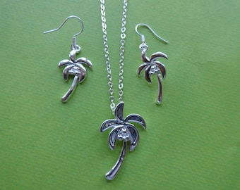 Palm tree abalone shell necklace and earring set