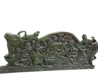 Antique Hand Carved Indian Headboard Wall Decor Green  Patina Eclectic One of a kind Furniture