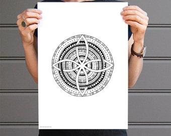 aztec mandala art print