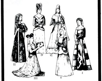 Ladies' Renaissance Cotehardies & Sideless Surcoats sizes 6-20 circa 14th-15th Century  - Period Patterns Sewing Pattern # 21
