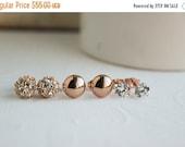 Rose Gold Trio Set, Rose Gold Earring Set, Wedding Earrings, Bridal Earrings, Rose Gold Earrings, Everyday Earrings