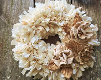 "Rustic Rag Wreath, Hygge Winter Rose Wedding Wreath with muslin ribbon roses on a small 12"" wreath, natural & tea dyed muslin fabric roses"