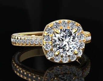Moissanite Halo Engagement Ring Cushion Cut Moissanite Ring 14k or 18k Yellow Gold Matching Wedding Band Available SW6MOISY