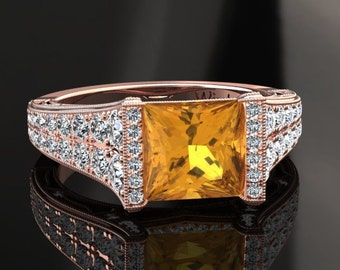 Yellow Sapphire Engagement Ring Princess Cut Yellow Sapphire Ring 14k or 18k Rose Gold Matching Wedding Band Available W25YSR