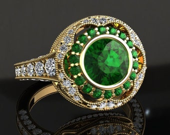 Emerald Engagement Ring Emerald Ring 14k or 18k Yellow Gold W33GY