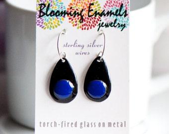 Black Enamel Teardrop Copper Enamel Earrings with Cobalt Blue Disc, Handmade Ear Wires, Drop Earrings, Dangle Earrings, Artsy Earring