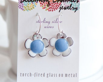 Small Flower Enamel Earrings, Blue and White, Sweet Jewelry, Bloom Earrings, Handmade Sterling Ear Wires, Hippie Boho Jewelry, Gift for Girl