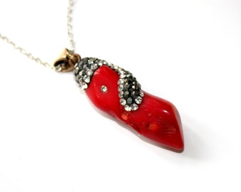 Hand Crafted Geniune Red Coral Pendant with Black and Clear Zircon - with chain- Gift Idea for her - Ready to Ship