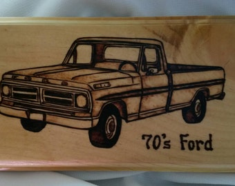 70's Ford Truck woodburning plaque