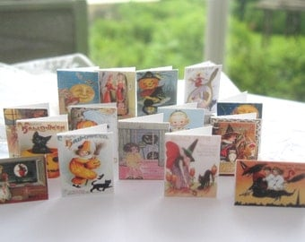 dollhouse halloween cards x 15 vintage scenes miniature 12th scale dollhouse display lakeland artist