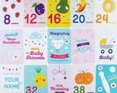 Printable Pregnancy Milestone Cards with cute & colourful illustrations (DIGITAL FILE)