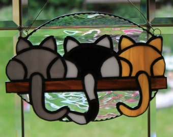 Stained glass 3 kittins on a shelf suncatcher, wall hanging