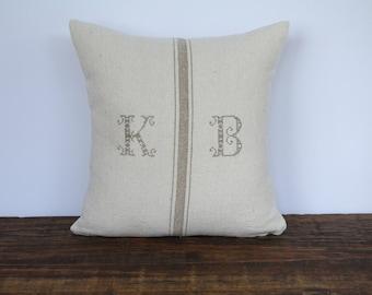 Grain Sack Heirloom Font Monogrammed Pillow Cover, Farmhouse Pillow Cover, French Pillow Cover, Decorative Pillow Cover, TAN HEIRLOOM